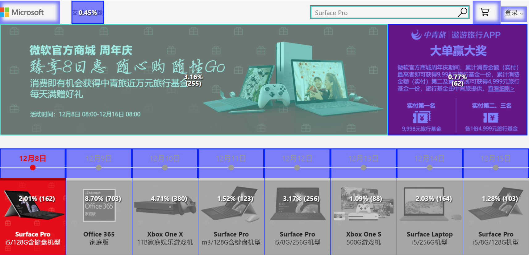 Engage function of ptengine in microsoft online store china.