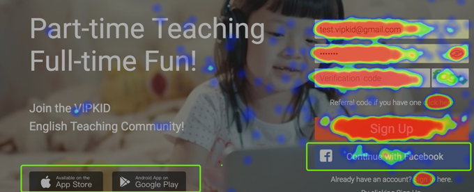 Heatmap overview on VIPKID sign-up page